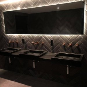 A photo of granite basins and shelves. Hoyts Commercial Plumbing Refit: Element Plumbing & Gas