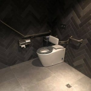 A photo of a disabled toilet. Hoyts Commercial Plumbing Refit: Element Plumbing & Gas